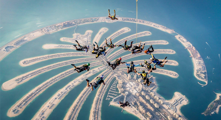 Skydiving over the Palm